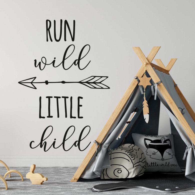 Sticker mural Run wild little child