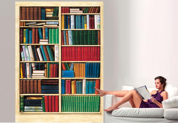 fototapete papiertapete bibliothek die fototapete f r leser mit b cherregal wall. Black Bedroom Furniture Sets. Home Design Ideas