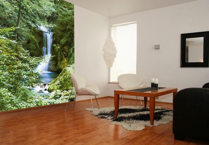 fototapete papiertapete wasserfall im fr hling tapete mit gr nen b umen wall. Black Bedroom Furniture Sets. Home Design Ideas
