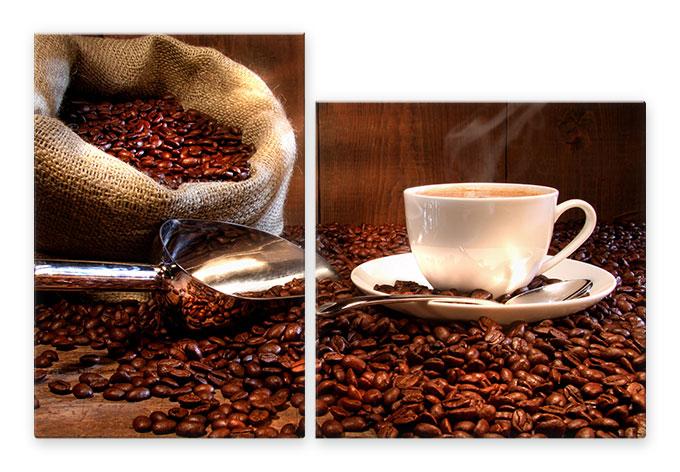 kaffeegenuss 2 teilig doppelter kaffeegenus auf elegantem glas wall. Black Bedroom Furniture Sets. Home Design Ideas