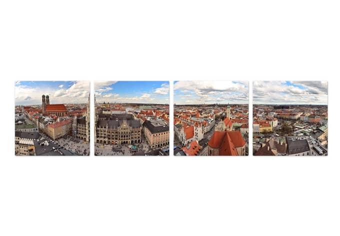 Glasbild Münchener Skyline Panorama Set (4-teilig)