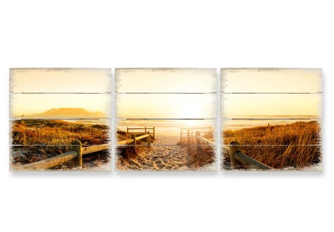 Holzbild-Set Sunset at the Beach (3-teilig)