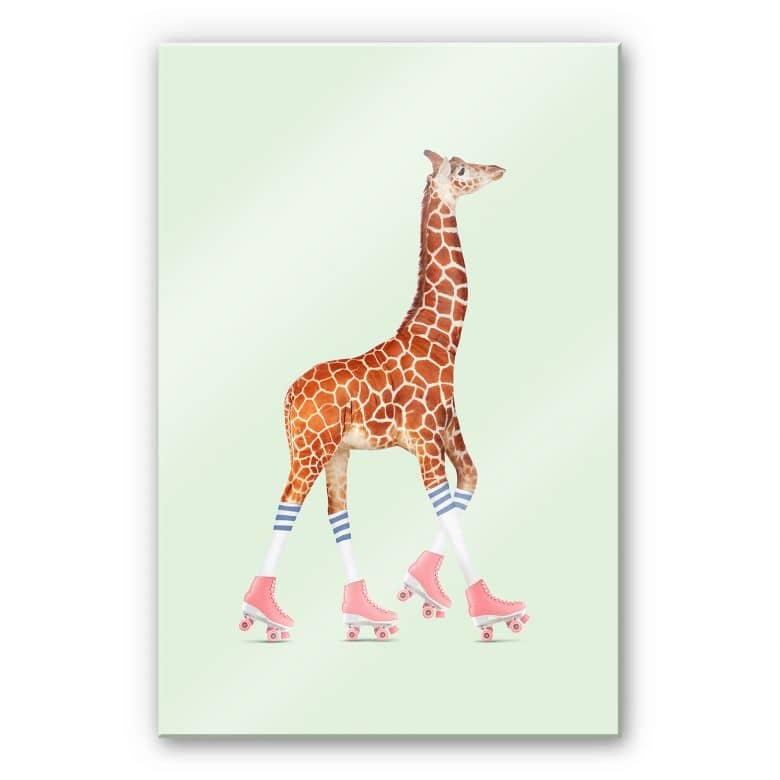 Acrylglasbild Loose – Rollerskating Giraffe