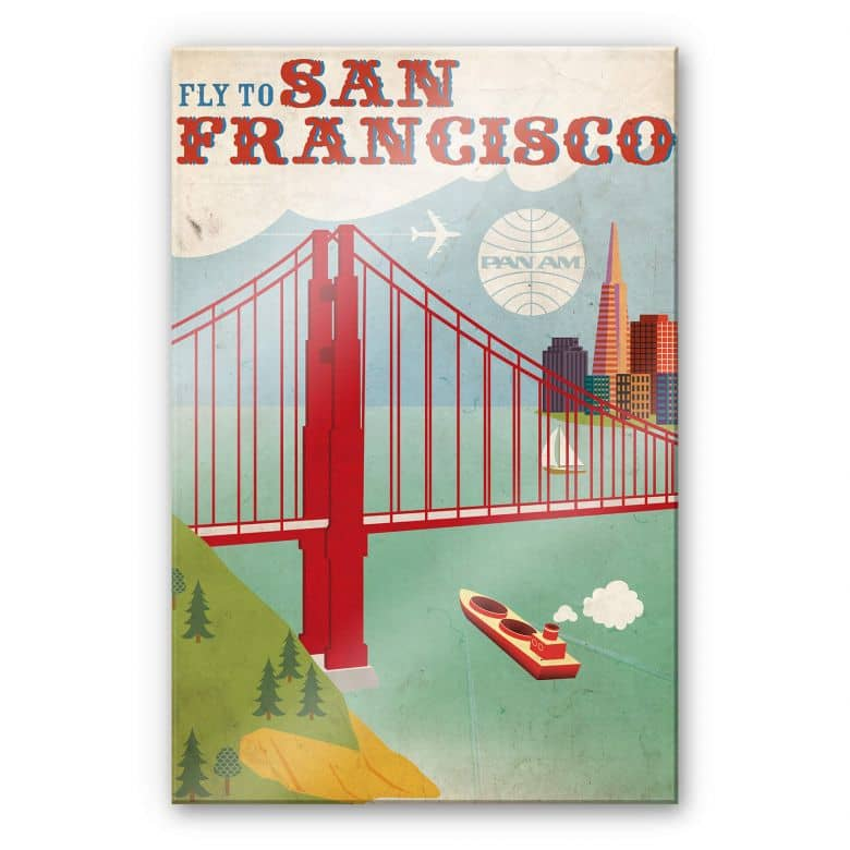 Acrylglasbild PAN AM - Fly to San Francisco