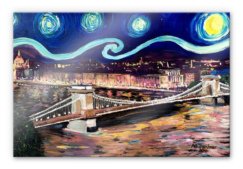 Acrylglasbild Bleichner - Starry Night in Budapest
