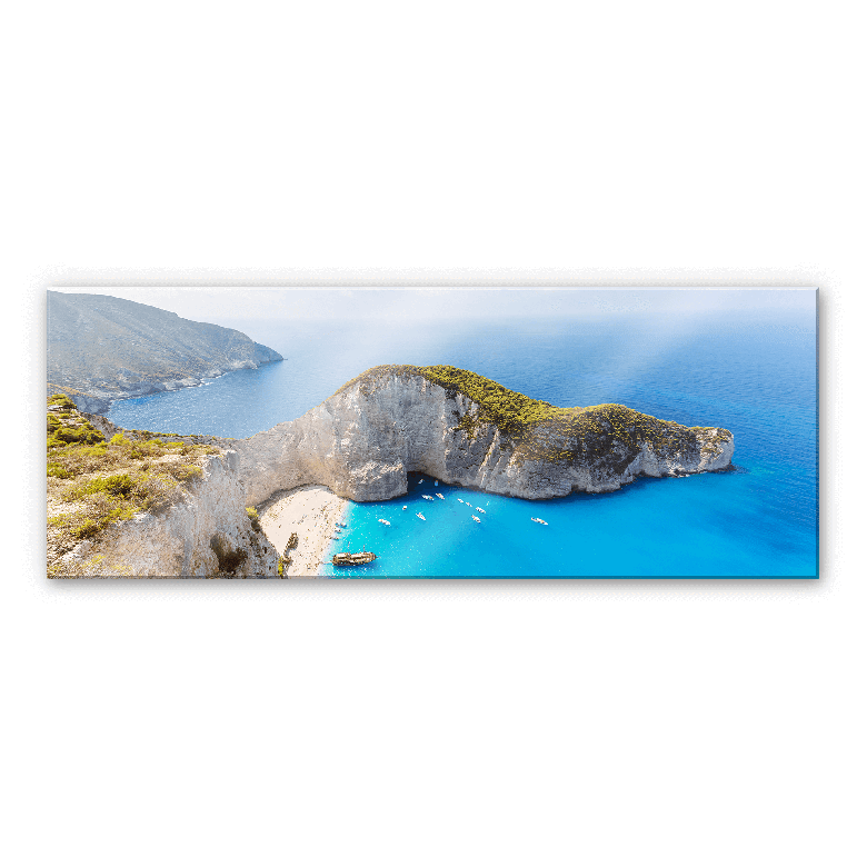 Acrylglasbild Colombo - Das Schiffswrack auf Zakynthos - Panorama