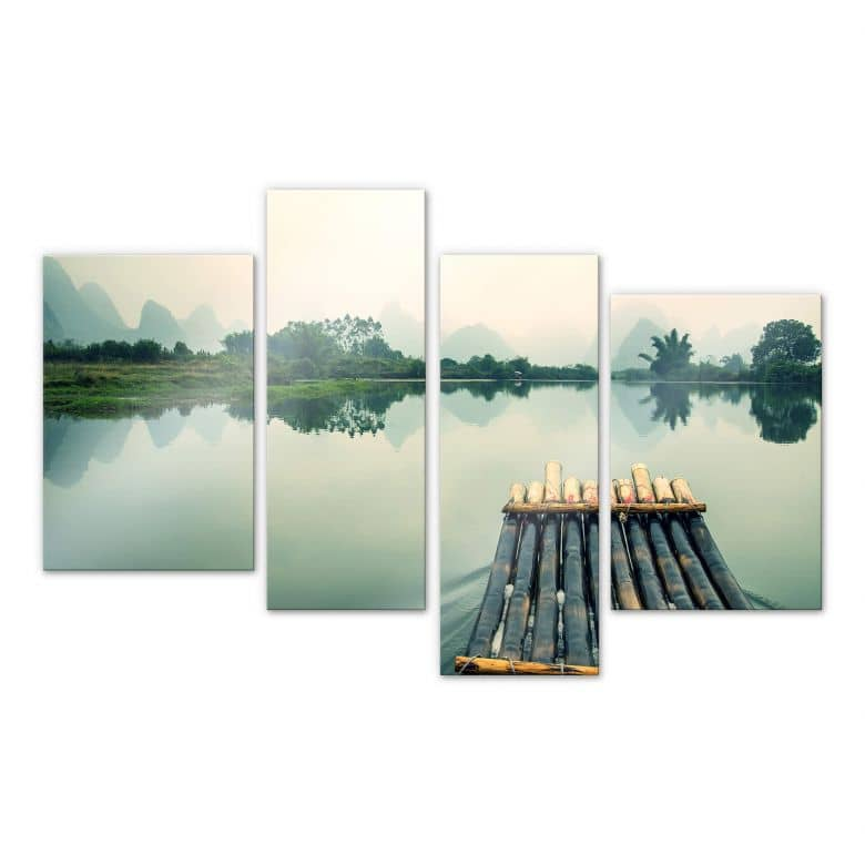 Acrylglasbild Floßfahrt in China (4-teilig)