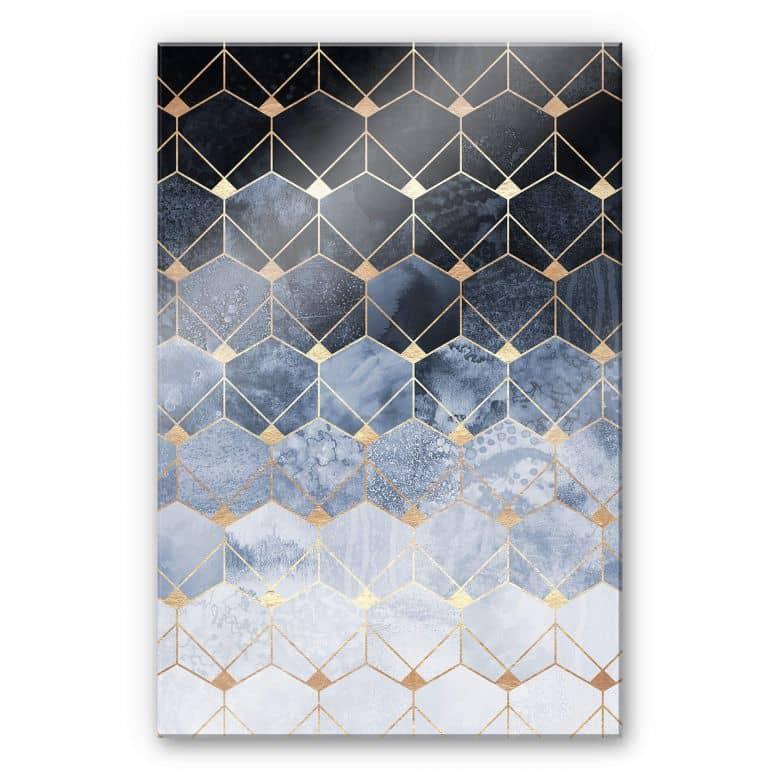Acrylglasbild Fredriksson - Hexagone: Blau und Gold
