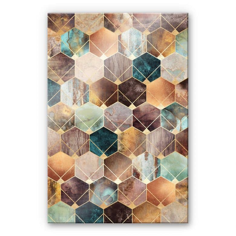 Acrylglasbild Fredriksson - Hexagone: Gold und Kupfer