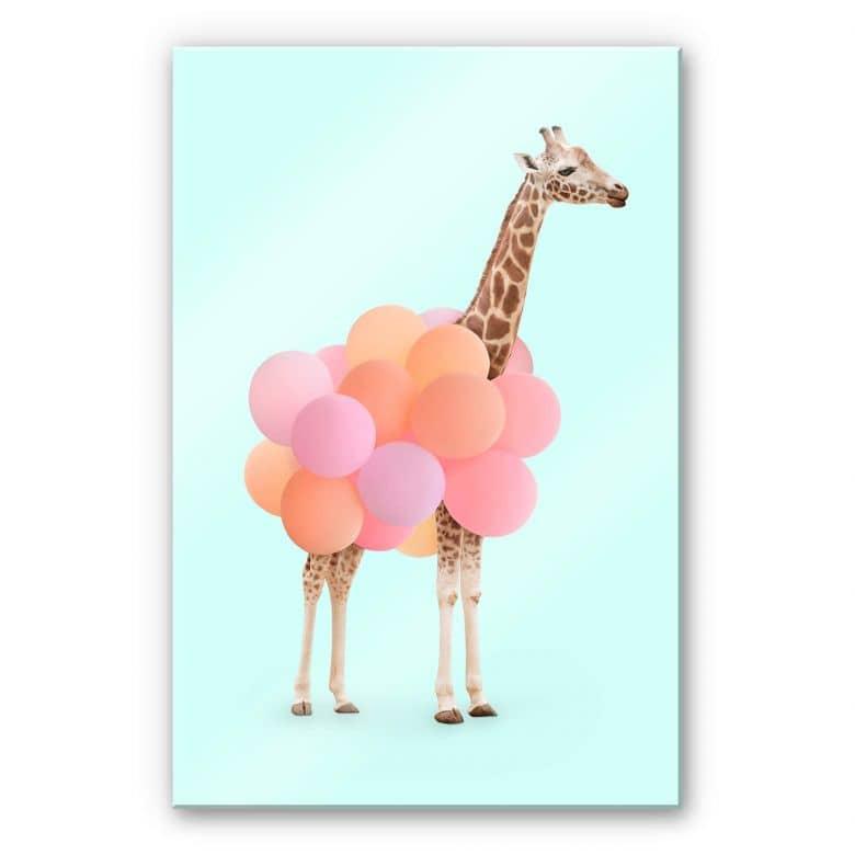 Acrylglasbild Fuentes - Giraffe und Ballons