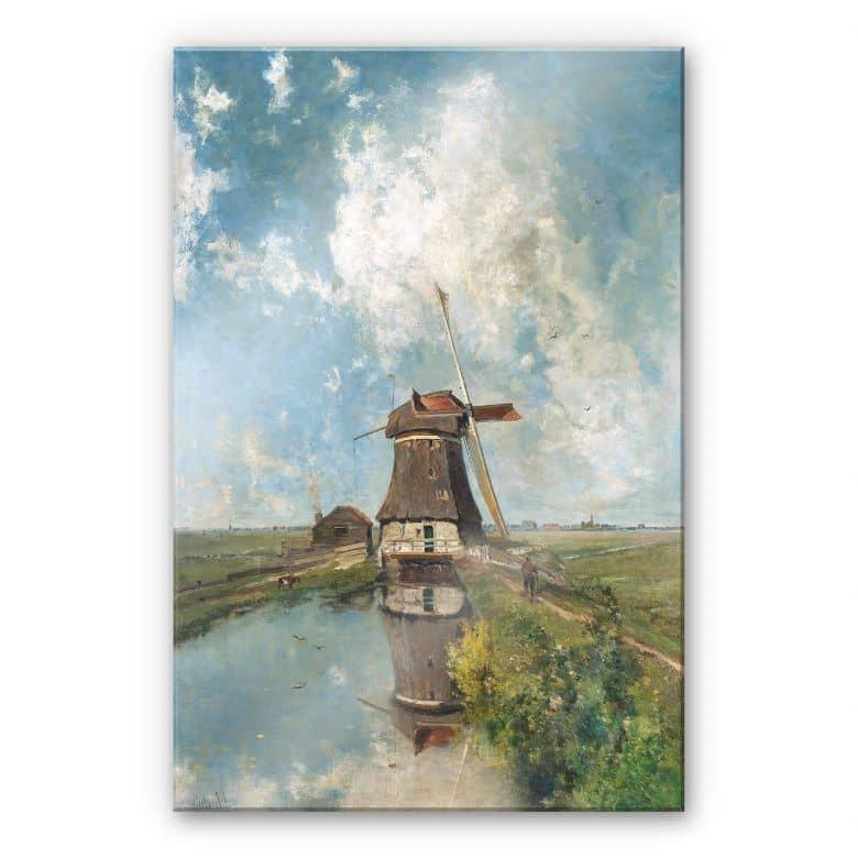 Glasbild Gabriël - Windmühle in einem Polder