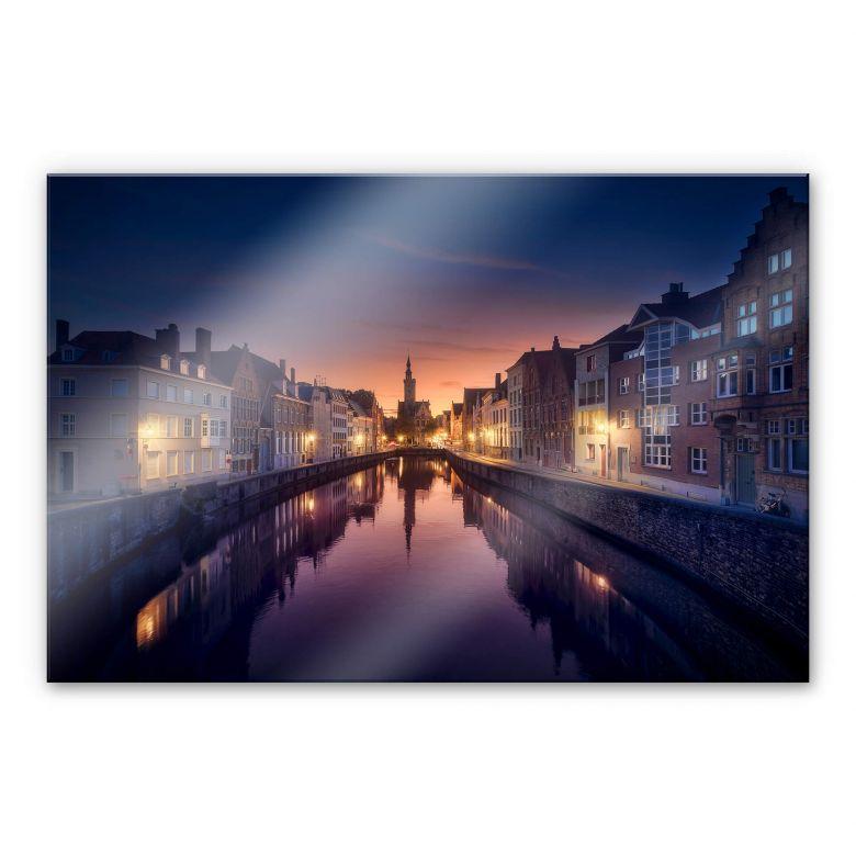 Acrylglasbild García - Sunset in Brugge