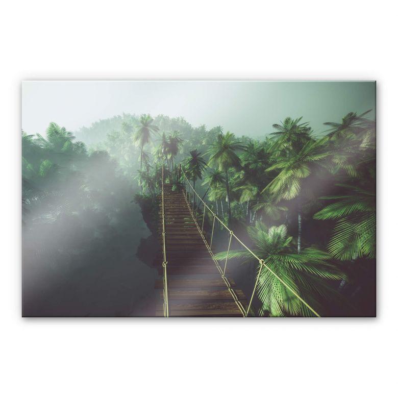 Acrylglasbild - Hängebrücke im Dschungel