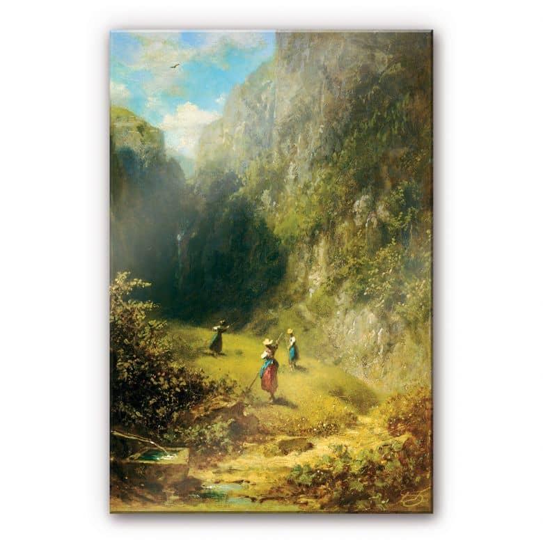 Acrylglasbild Spitzweg - Heuernte im Hochgebirge
