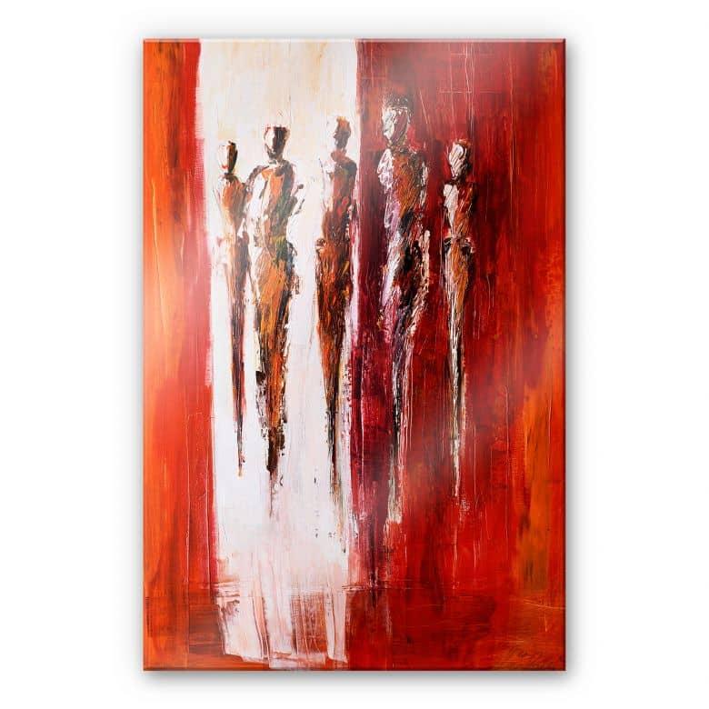 Acrylglasbild Schüßler - Fünf Figuren in Rot
