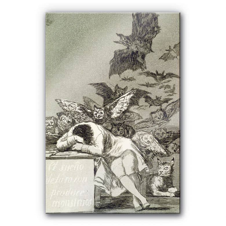 acrylglasbild de goya der schlaf der vernunft gebiert ungeheuer wall. Black Bedroom Furniture Sets. Home Design Ideas