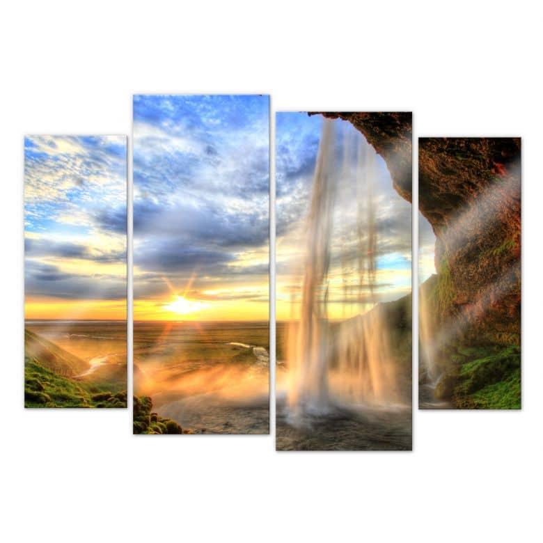 Acrylglasbild Seljalandsfoss Wasserfall (4-teilig)