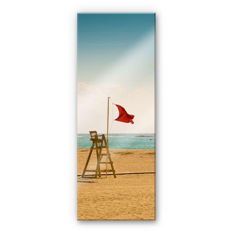 Tableau sur verre acrylique Drapeau rouge - Panorama
