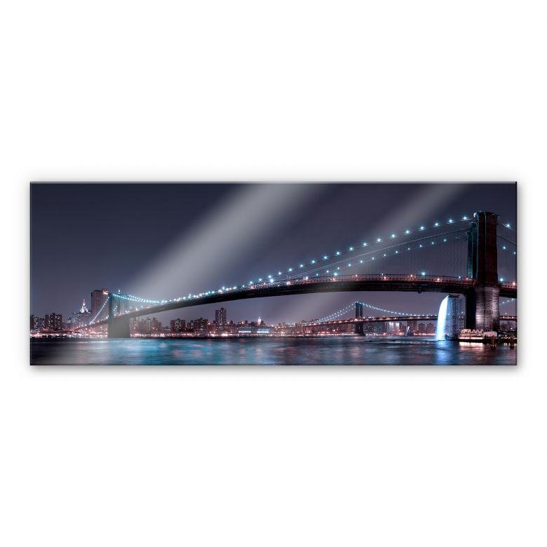 Acrylglasbild Bravin -  Manhattan Skyline bei Nacht - Panorama
