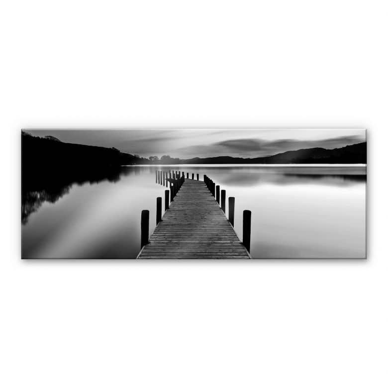 Acrylglasbild Seepanorama - schwarz/weiß