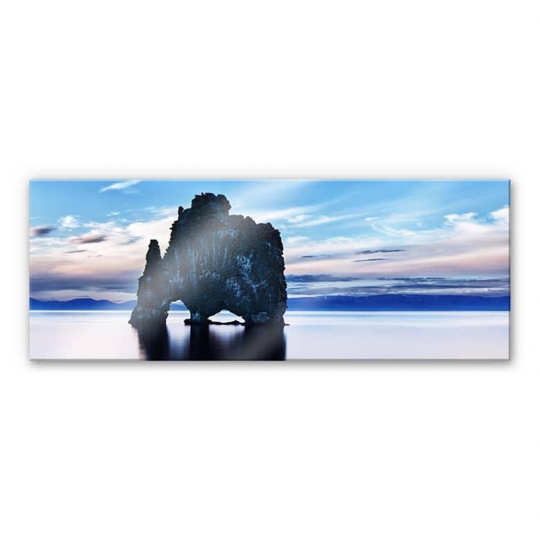 Tableau en verre acrylique - Rocher en Mer - Panorama
