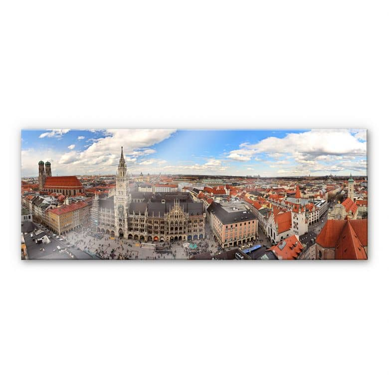 XXL Wanddecoratie Acrylglas Skyline van Munchen