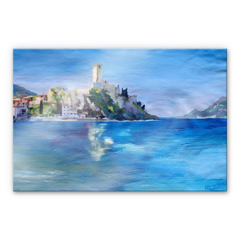 Acrylglasbild Bleichner - Malcesine mit der Castello Scaligero