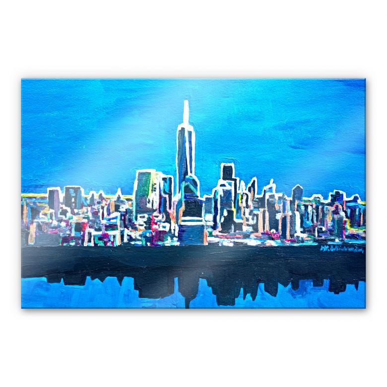 acrylglasbild bleichner new york city im neonschimmer wall. Black Bedroom Furniture Sets. Home Design Ideas