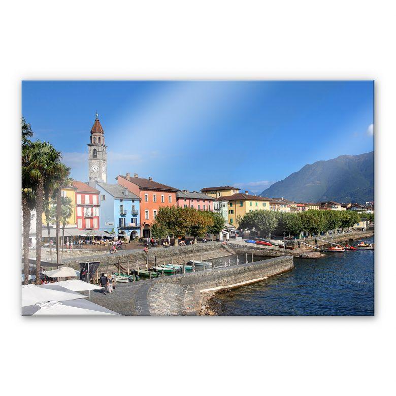 Acrylglasbild Hafenpromenade am Lago Maggiore