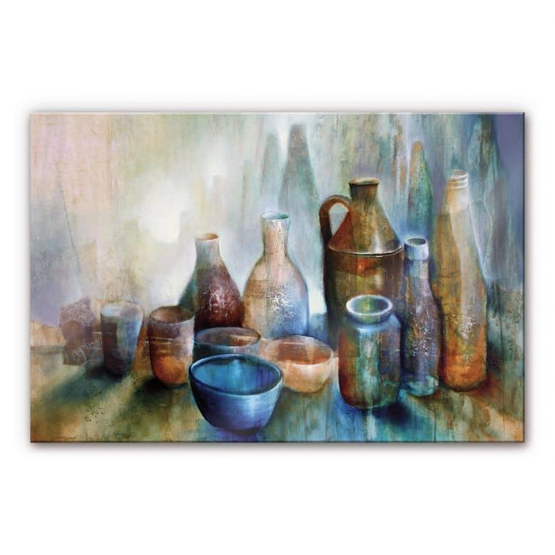 Acrylglasbild Schmucker - Stillleben mit blauer Sc