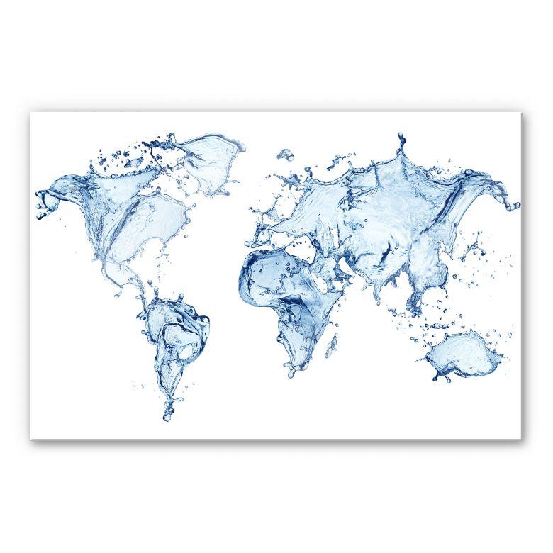 Acrylglasbild Splashing Worldmap