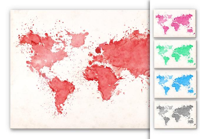 Tableau en verre acrylique - Carte du monde aquarelle