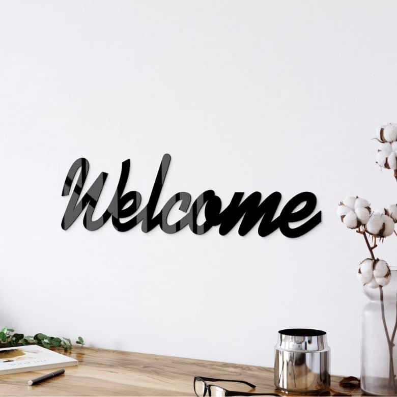Lettre décorative en verre acrylique - Welcome