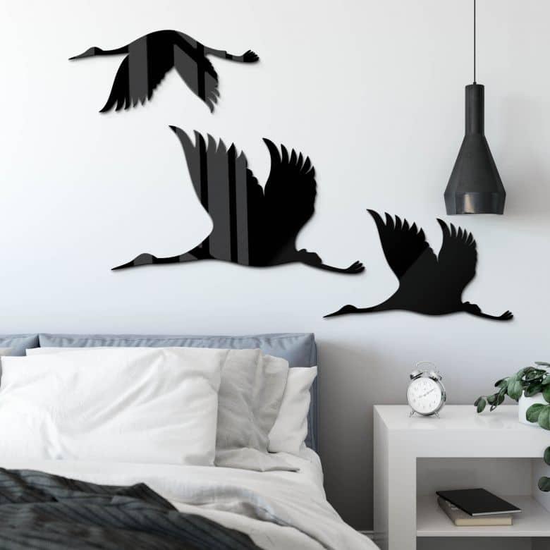 Acryldeko Kraniche - Vogelschwarm 01