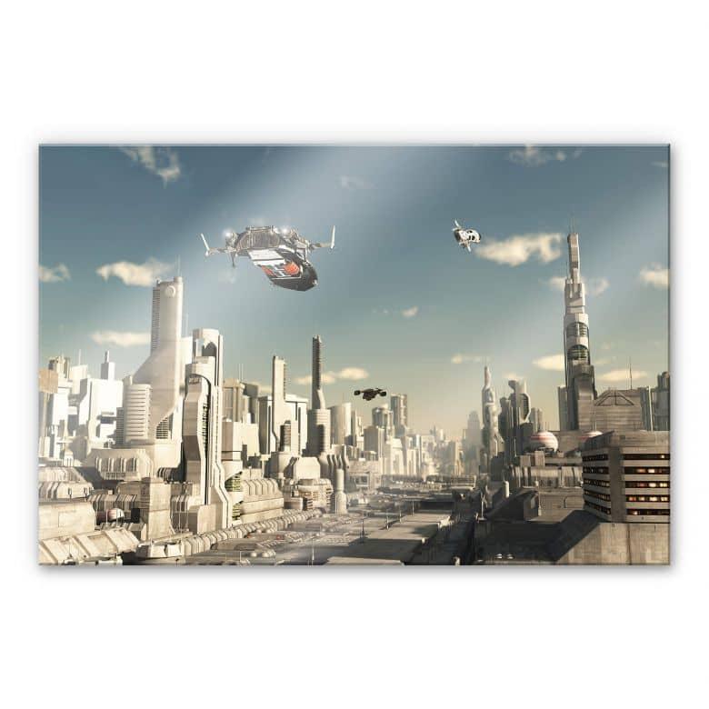 Acrylglasbild 3D Landeanflug Sci-Fi Stadt