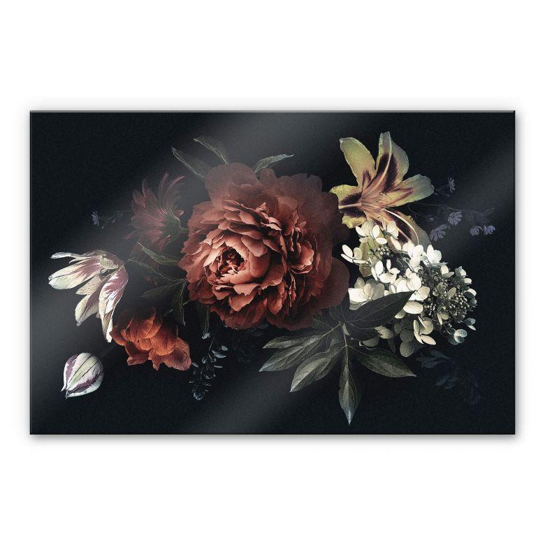 Acrylglasbild - Blumenbouquet Rot
