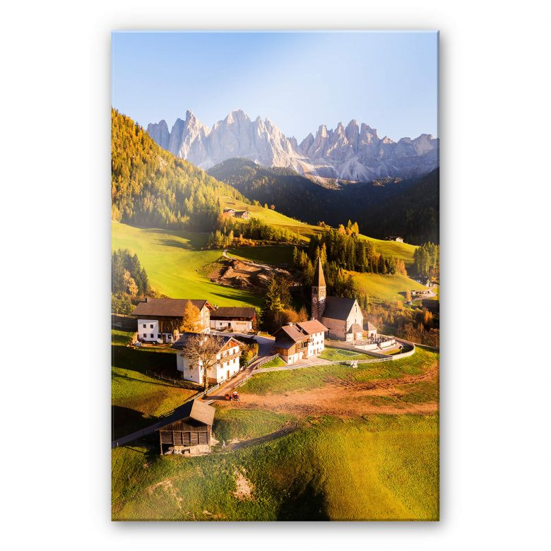 Acrylglasbild Colombo - Kleines Dorf in den Dolomiten