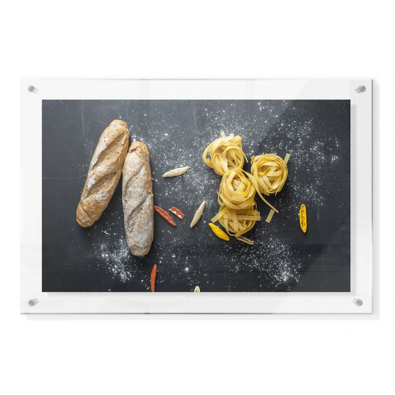 Acrylglasbild im Galeriestil - Bread and Pasta