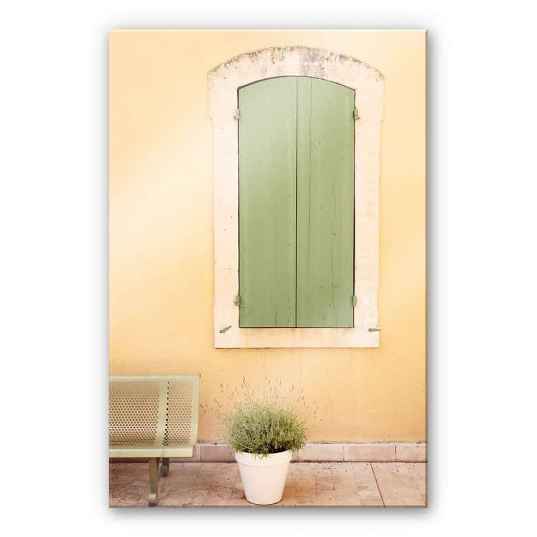 Acrylglasbild Hugonnard - Grünes Holzfenster