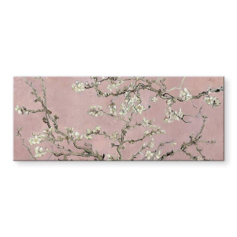 Tableau en verre acrylique van Gogh - Amandier en fleurs rose - Panorama
