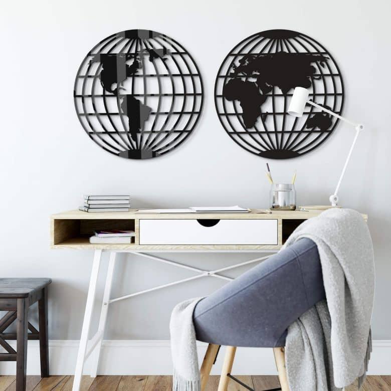 Acryl Decoratie - Wereldkaart Globe (2-delig)
