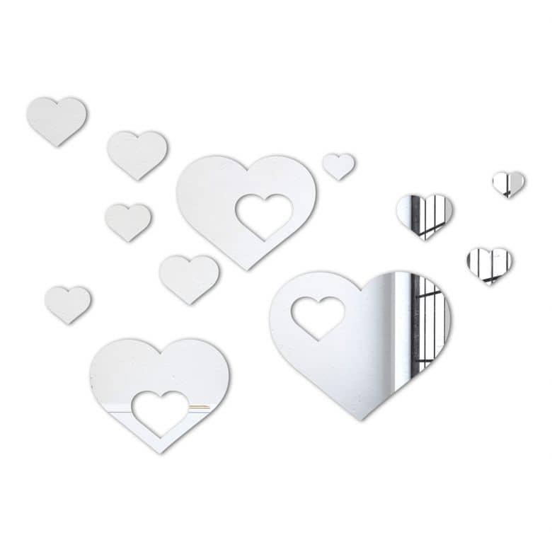 Miroir mural - Set de coeurs (12 parties)