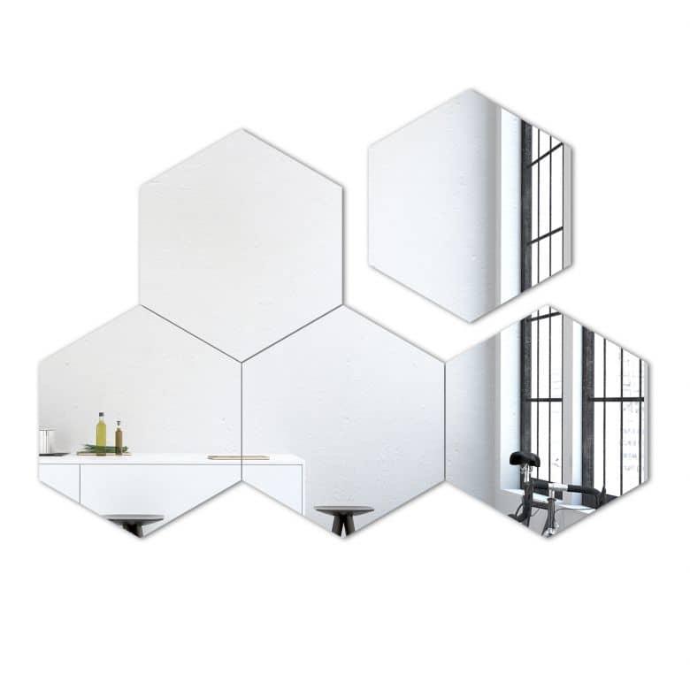 Wandspiegel Hexagon Spiegel-Set