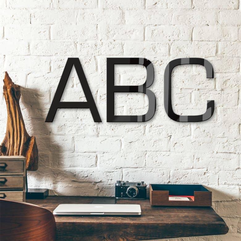 Lettres décoratives verre acrylique - Police de caractères Eurostile
