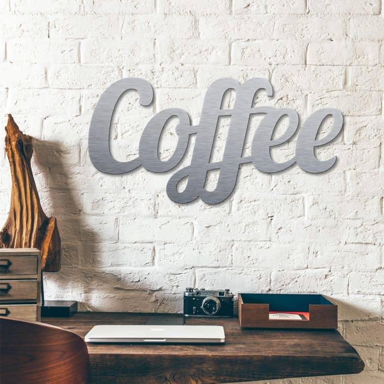 Deco letters Alu-Dibond zilver - Coffee