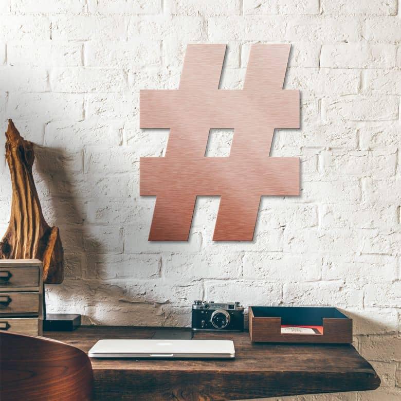 Alu-Dibond Buchstaben - Kupfereffekt - Hashtag Zeichen