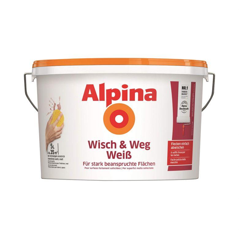 Alpina Wandfarbe Wisch und Weg weiß - 5 Liter