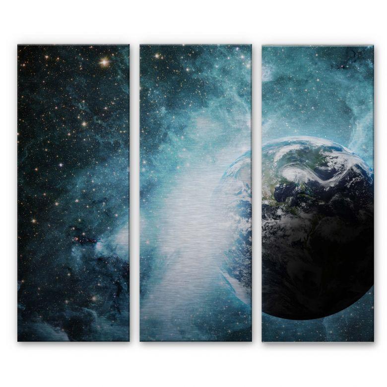 Alu-Dibond Bild In einer fernen Galaxie (3-teilig) - 40x100 cm