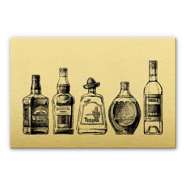 Alu-Dibond mit Goldeffekt - 5 Flaschen voll Spaß