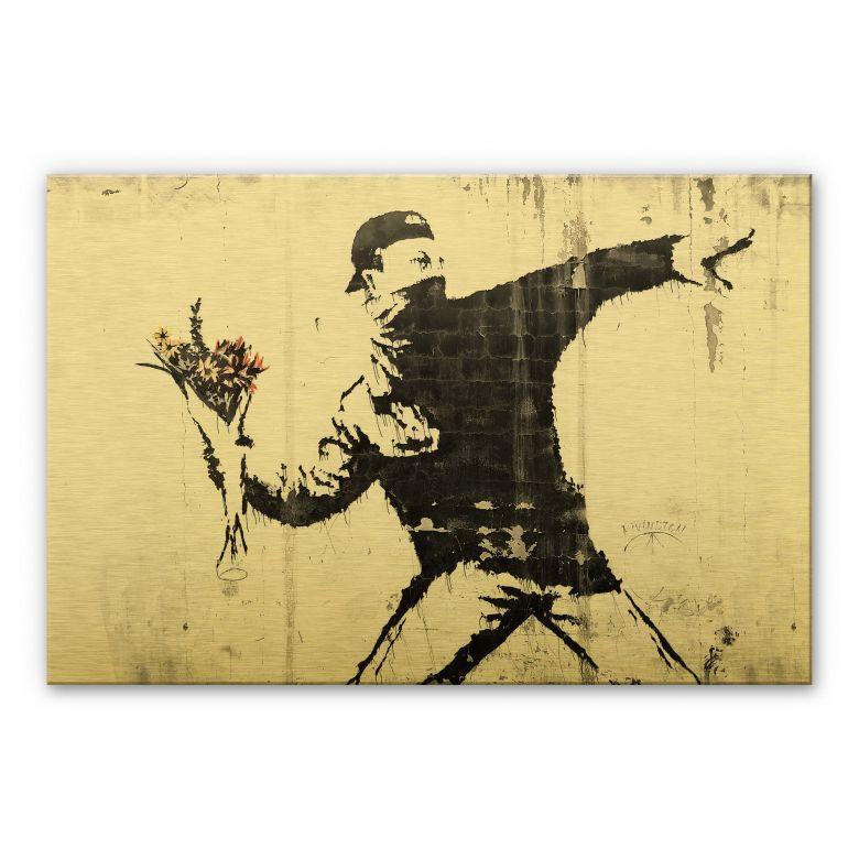 Alu-Dibond mit Goldeffekt Banksy - Der Blumenwerfer